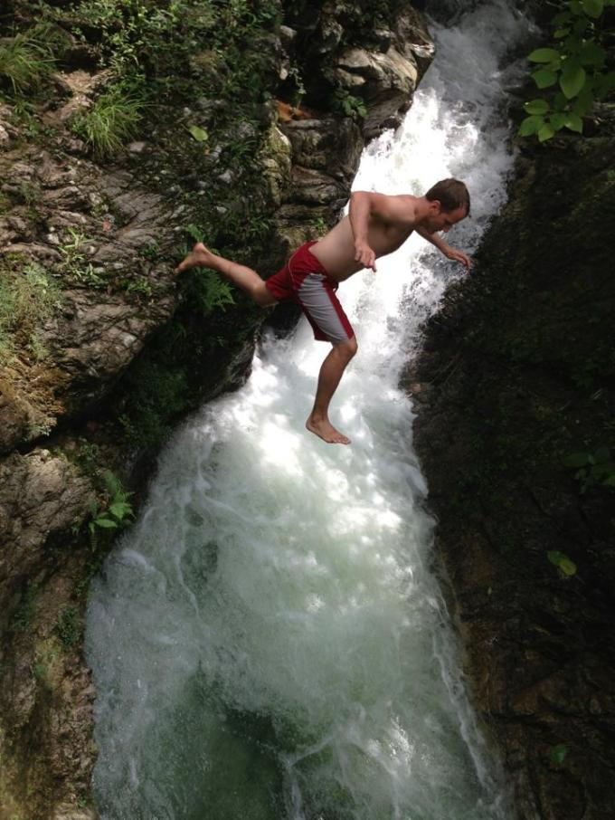 Jumping into waterfalls